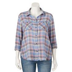 Juniors' Plus Size Mudd® Shirttail Plaid Shirt, Girl's, Size: 2XL, Dark Blue