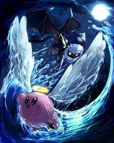 Kirby, Meta Knight fan art by Caramel