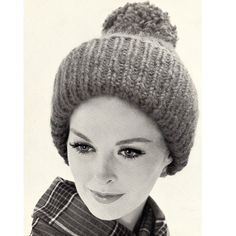 Chunky Knitted Hat Cap Pom-Pon PDF Pattern Vintage 1960s ...