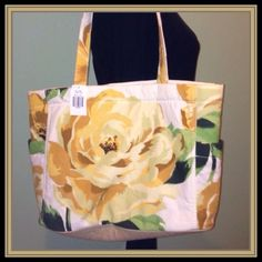 "⭐️️Host Pick ⭐️ floral tote fabric tote with flower design and mustard color inside with white polka dots ... bag has two handles with 9.5"" drop.. bag measures  13 x 11 x 4.5 .. open outside pockets on each end, the inside has one zippered pocket and two open pocket... snap closure.                                                                                                 REDUCED FROM $26.00 Bags Totes"
