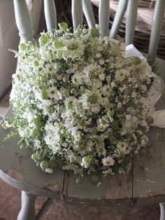 baby's breath,scabiosa and feverfew