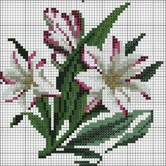 """Bundles"" of lilies or lily sprays of allery. Beaded Cross Stitch, Cross Stitch Flowers, Cross Stitch Charts, Cross Stitch Designs, Cross Stitch Embroidery, Hand Embroidery, Cross Stitch Patterns, Christmas Embroidery Patterns, Embroidery Flowers Pattern"