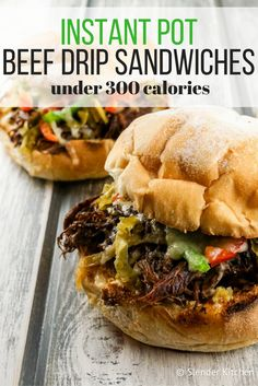 Instant Pot Beef Drip Sandwiches (or Slow Cooker) - Slender Kitchen. Works for Weight Watchers® diet. 290 Calories.