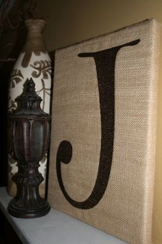 Embroidered Initial on Burlap Wrapped Canvas by Monogramsandmore, $25.00