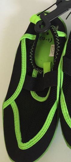 a5865c5a68fee0 Beach Shoes Kids Black Lime Green Swim Size 13 1 Unisex Water Shoes Slip On
