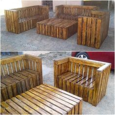 wood pallet couch set