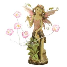 Peony Fairy Solar Statue  A sweet young fairy pauses to admire a new-found patch of blushing blooms, blessing your garden with the beauty of spring. Enjoy this statue both day and night, thanks to tiny solar lights nestled inside each lovely flower!  @ amazingwebshopperonline.com