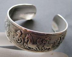 Tibet Silver Chinese Zodiac 12 Animals Bangle Cuff $7
