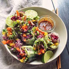 Vegan rainbow spring rolls and spicy tahini sauce
