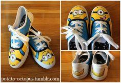 DIY handpainted Despicable Me Minion shoes - http://potato-octopus.tumblr.com