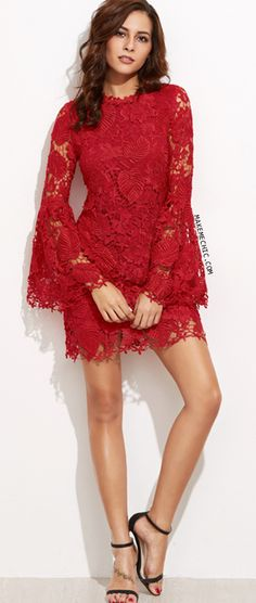Online shopping for Red Embroidered Lace Overlay Bell Sleeve Dress from a great selection of women's fashion clothing & more at MakeMeChic. Shirts & Tops, Short Lace Dress, Short Sleeve Dresses, Long Sleeve, Bell Sleeve Dress, Retro Dress, Fancy Dress, Chic Dress, Embroidered Lace