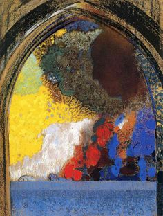 Woman In Profile Under A Gothic Arch by @redonart #symbolism