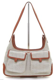 06d7a909adce ANYA HINDMARCH Shoulder Bag Purse Hobo Canvas Leather Brown Silver HW   AnyaHindmarch  ShoulderBag Canvas