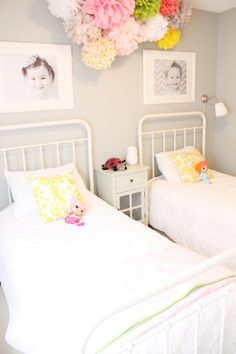 Girls' bedroom with gray paint color, twin Restoration Hardware Baby & Child Millbrook Beds, pom poms, white nightstand and yellow damask pillows. Decoration Inspiration, Room Inspiration, Girls Bedroom, Bedroom Ideas, Grey Bedrooms, Budget Bedroom, Bedroom Pictures, White Bedroom, Sister Room