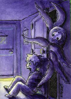 ACEO TW OCT Original Monster In The Closet Halloween scary cartoon octopus  #Cartoon