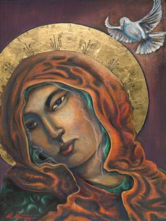 Mother of Peace, oil pastel on canvas by Miguel Martinez - Taos Painter