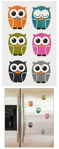 Hoot Owl Magnets - Set of 6 at The Animal Rescue Site - funds 14 bowls of food for animals.  Only $4.95