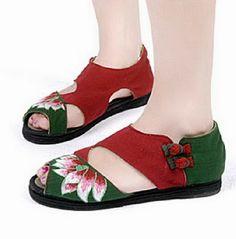Plaid Button Floral Shoes-zeniche.com SKU fb0060