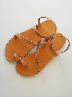 Leather Toe Handmade Sandals Natural Light Brown by Leatherhood