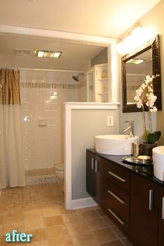 love this bathroom. if only the shower had the curved shower rod so the curtain doesn't touch me!!