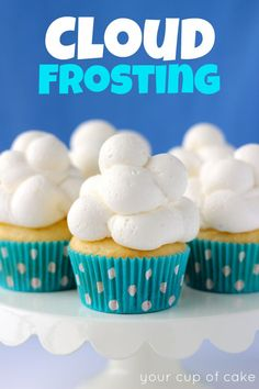 Cloud Frosting...cream cheese, powdered sugar, vanilla extract, and heavy whipping cream. For the cutest cupcakes!