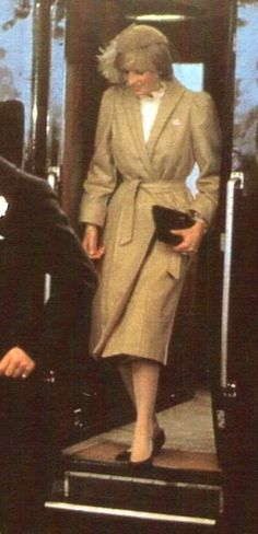 28 OCTOBER 1981 Diana, Princess of Wales, make her first official visit to Wales St David's Cathedral in Pembrokeshire,Diana is wearing a tweed coat by Caroline Charles and a John Boyd hat.