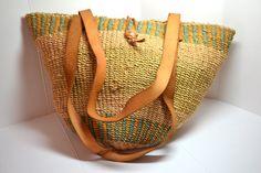 Vintage 80's Sisal Africa Market Bag with Zipper VA19 on Etsy, $33.38 AUD