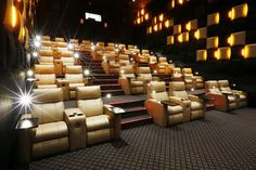 A Premium Verona and Premium Opus cinema seating solution designed by Ferco for Cinema City Luxury Movie Theater, At Home Movie Theater, Cinema Theatre, Home Theater Design, Dream Home Design, Modern House Design, Home Cinema Room, Cinema Seats, Lounge Design