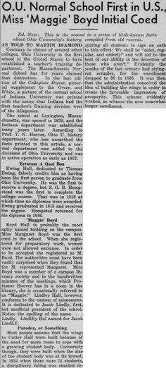 """Green and White (Athens, Ohio) December 11, 1936. """"O.U. Normal School First in U.S., Miss 'Maggie' Boyd Initial Coed."""" :: Ohio University Archives"""