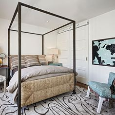 """The homeowner loves to have friends, family and particularly grandchildren stay over. """"It was therefore essential that the guest bedroom be grandchild-friendly,"""" says designer Mary Meinz. #phgmag #bedrooms #design"""