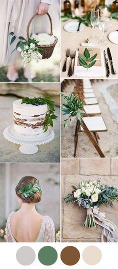 light grey, greenery and brown stylish wedding color inspiration