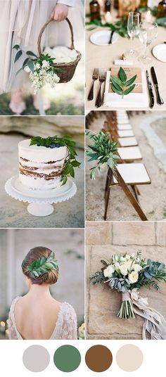 light grey, greenery and brown stylish wedding color inspiration