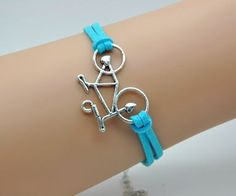Adjustable Vintage Silver Blue Rope Cute Bicycle Personality Bracelet Gifts for Girls, Gifts for women FAHSION 2053S via Etsy