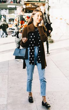 Skinny jeans and loafers is causal yet still chic