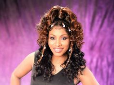 This lace wig ponytail for black women was created by professional hairstylist Denise Granberry. The look features curls all over and sea shell accents. Cute Hairstyles For Short Hair, Braids For Black Hair, Box Braids Hairstyles, Black Hairstyles, Curly Hair Styles, Hair Color For Women, Natural Hair Styles For Black Women, Black Hair With Highlights, Hair Highlights