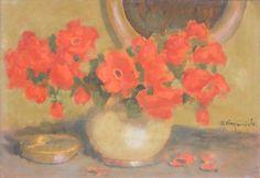Alfons KARPIŃSKI ,Maki w wazonie , olej, tektura, 35 x 50 cm