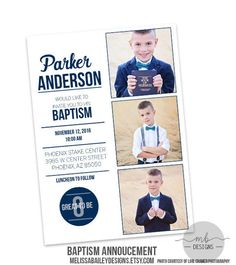LDS Baptism Announcement Boy Invitation by MelissaBaileyDesigns Farewell Invitation, Baptism Invitation For Boys, Baptism Invitations, Boy Baptism, Christening, Missionary Farewell, Baptism Announcement, Baptism Pictures, Thomas Birthday