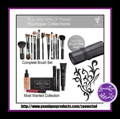 buy the complete brushset or the most wanted collection you can receive thebrush roll to hold all your brushes WORTH £35 GBP/ FREE .you will also receive a leather stand up case FREE with the brush set.(also if you buy the eye lash curlers with thebrush set & let me put your order throu  online party you will also receive 1 half price voucher (which means you can buy a makeup collection for half price) &10% of the cost of brushset #younique  #beauty #makeup #cosmetics #uk #england  #canada