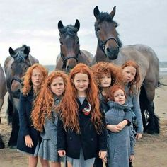 """This photo is aptly named """"the beauty of Ireland.  That is a lot of beautiful red hair.  The horses are beautiful too Celtic Names, How Beautiful, Beautiful Babies, Beautiful Creatures, Hawaii, Having A Baby, Baby Names, World, Fun"""