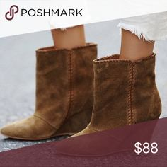 "FREE PEOPLE ""Up All Night"" Ankle BOOTS Booties Tan BRAND NEW in BOX!! Ltd Edition Free People ""Up All Night"" Wedge Ankle Booties BOOTS in Suede Nubuck. 3 1/2"" Stacked Wedge. Color: Tan [Camel] (Brown). Retail: $298.00. Free People Shoes Ankle Boots & Booties"