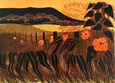"""Poppies & Downs"" by Robert Tavener (linocut)"