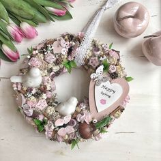 Spring Door Wreaths, Christmas Wreaths, Flower Decorations, Happy Easter, Wedding Accessories, Easter Eggs, Floral Wreath, Creative, Flowers