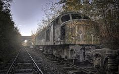 Download wallpapers old rusty train, abandoned train, rails, morning, fog, old train