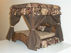 Doggie Couture Shop: Out of Sight Luxury Canopy Dog Beds, in Plain Sight Diy Dog Bed, Cool Dog Beds, Doggie Beds, Puppy Beds, Pet Beds, Dog Furniture, Furniture Ideas, Pet Day, Dog House Bed