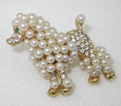 Vintage Poodle Pin Dog Brooch Lapel Rhinestone Pearl Pin