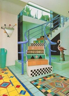 Modern Steps: Then - How To Update Memphis Style For 2017 - Photos 80s Interior Design, 80s Design, Deco Design, Interior And Exterior, Interior Decorating, 1980s Interior, Pastel Interior, Decorating Games, Memphis Design