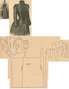 Der Bazar 1888: Slate-grey woollen dress; 36. bodice's lining front part, 37. plastron in half size, 38. overbodice part, 39. side gore, 40. back part in half size, 41. collar in half size, 42. and 43. oversleeve's lining and pouffy outer part, 44. undersleeve part, 45. cuff in half size