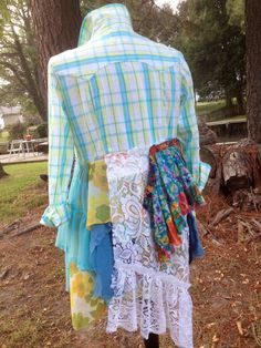 Shabby romantic floral plaid lace boho upcycled lagenlook reconstructed top, M