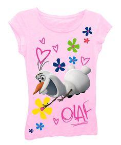 Look what I found on #zulily! Light Pink Olaf Tee - Girls #zulilyfinds $6.99, regular 20.00