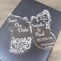 Lace Butterfly Acrylic Save The Date